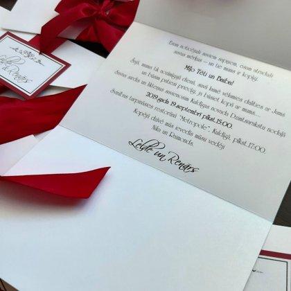 kods: 105 tumši sarkans ar iedrukātu tekstu uz ielūguma pamatnes / cena: 3,00